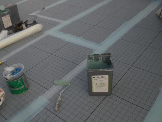 ジョイント部分、ウレタン防水材捨て塗り