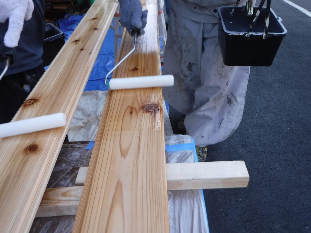 外壁木材塗装工事